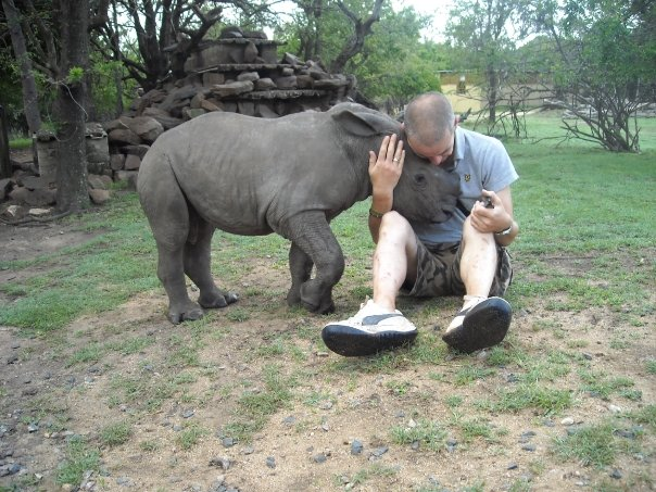 Fraser with rescued white rhino